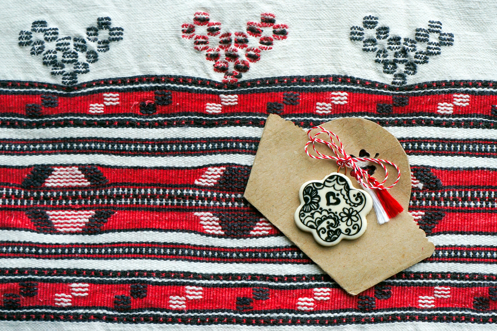 """Martisor,On,A,Traditional,Handmade,Woven,Towel.,""""martisor"""",Is,A"""