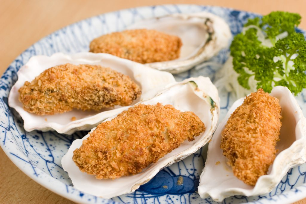 Japanese,Deep,Fried,Breadcrumbed,Oysters,In,A,Half,Shell